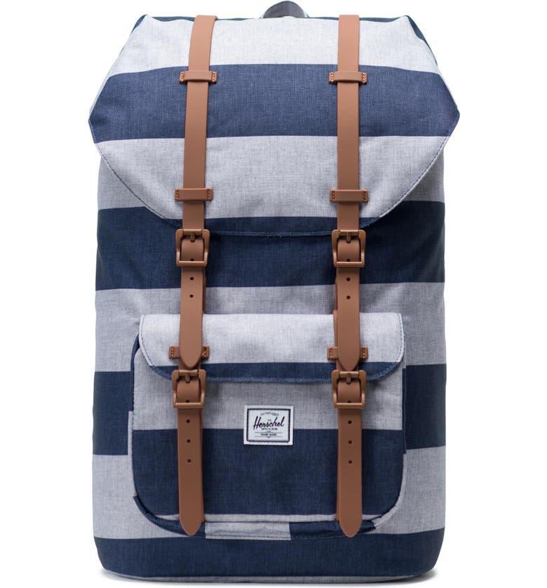 HERSCHEL SUPPLY CO. Little America Backpack, Main, color, BORDER STRIPE/ SADDLE BROWN