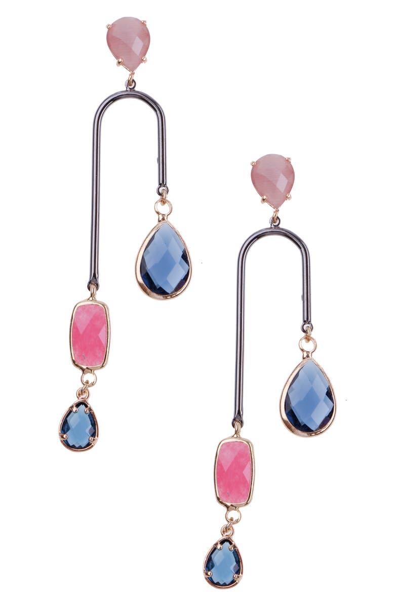 NAKAMOL CHICAGO Elongated Horseshoe Earrings, Main, color, BLUE/ PINK/ SILVER