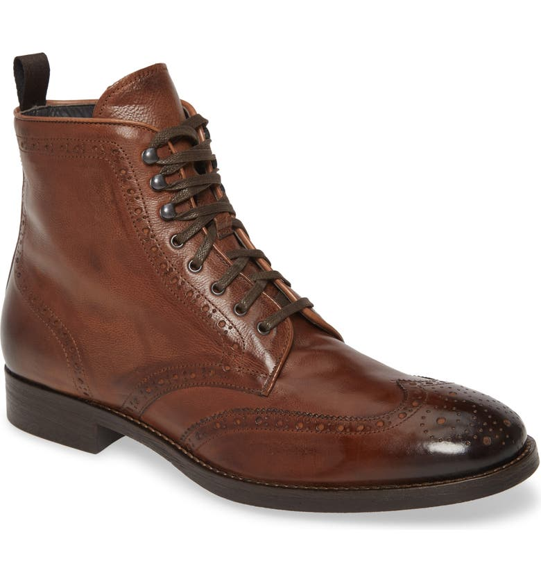 TO BOOT NEW YORK Boerum Wingtip Boot, Main, color, COGNAC LEATHER