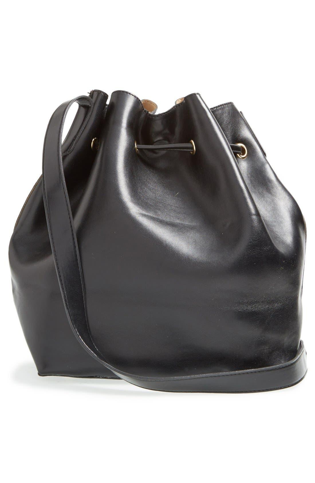 ,                             'Nevin' Faux Leather Drawstring Bucket Bag,                             Alternate thumbnail 8, color,                             001