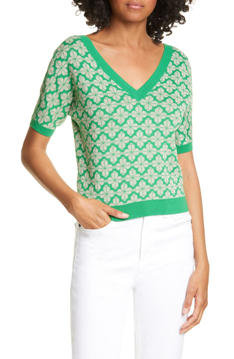 KATE SPADE NEW YORK floral spade sweater, Main, color, 334