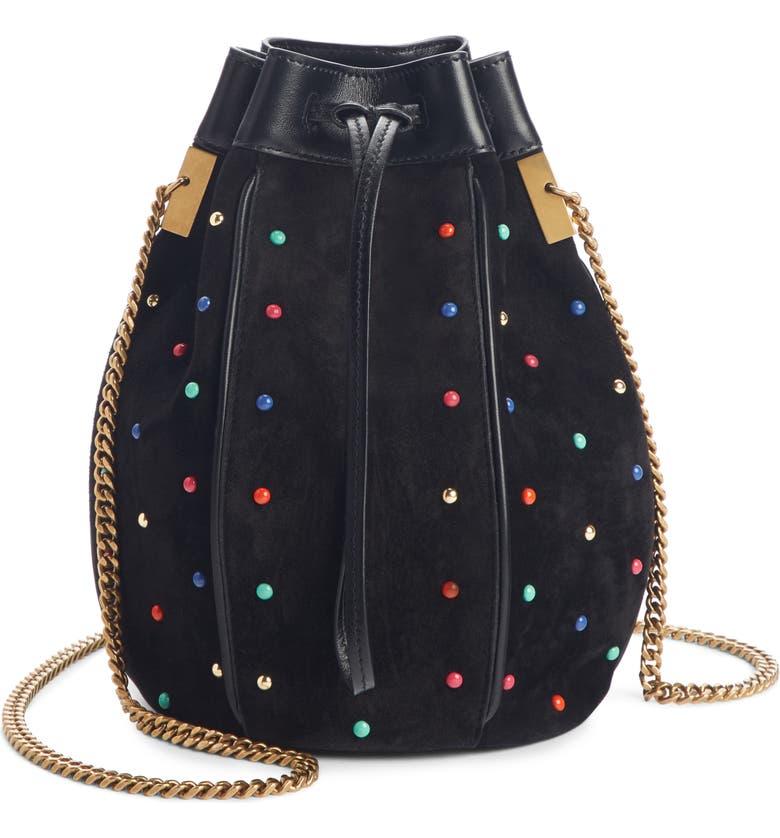 SAINT LAURENT Talitha Studded Suede Bucket Bag, Main, color, 005