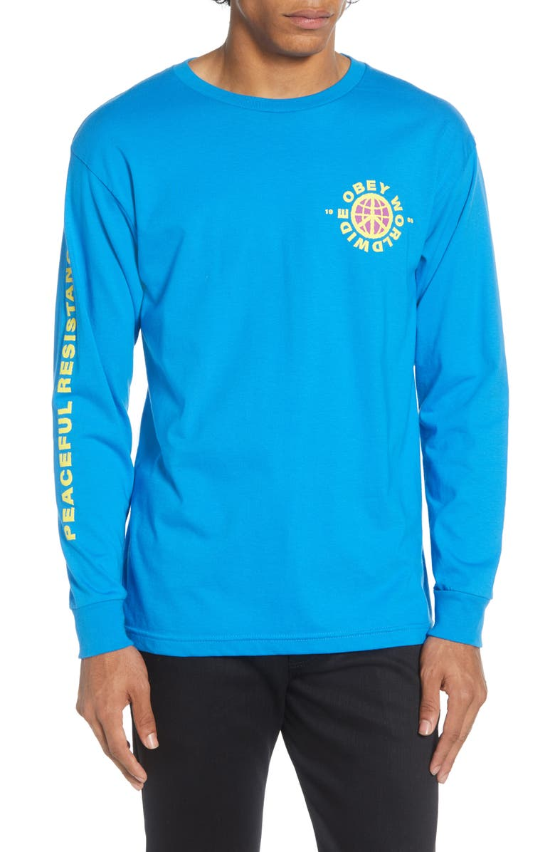OBEY Peaceful Resistance Long Sleeve T-Shirt, Main, color, SKY AZURE