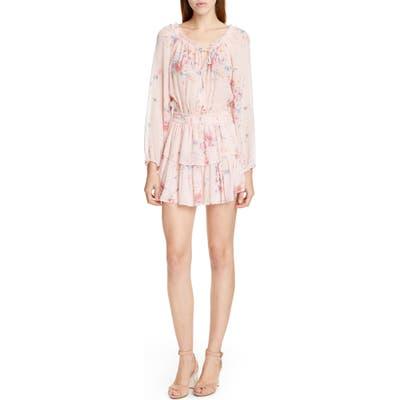 Loveshackfancy Popover Floral Long Sleeve Silk Minidress, Pink