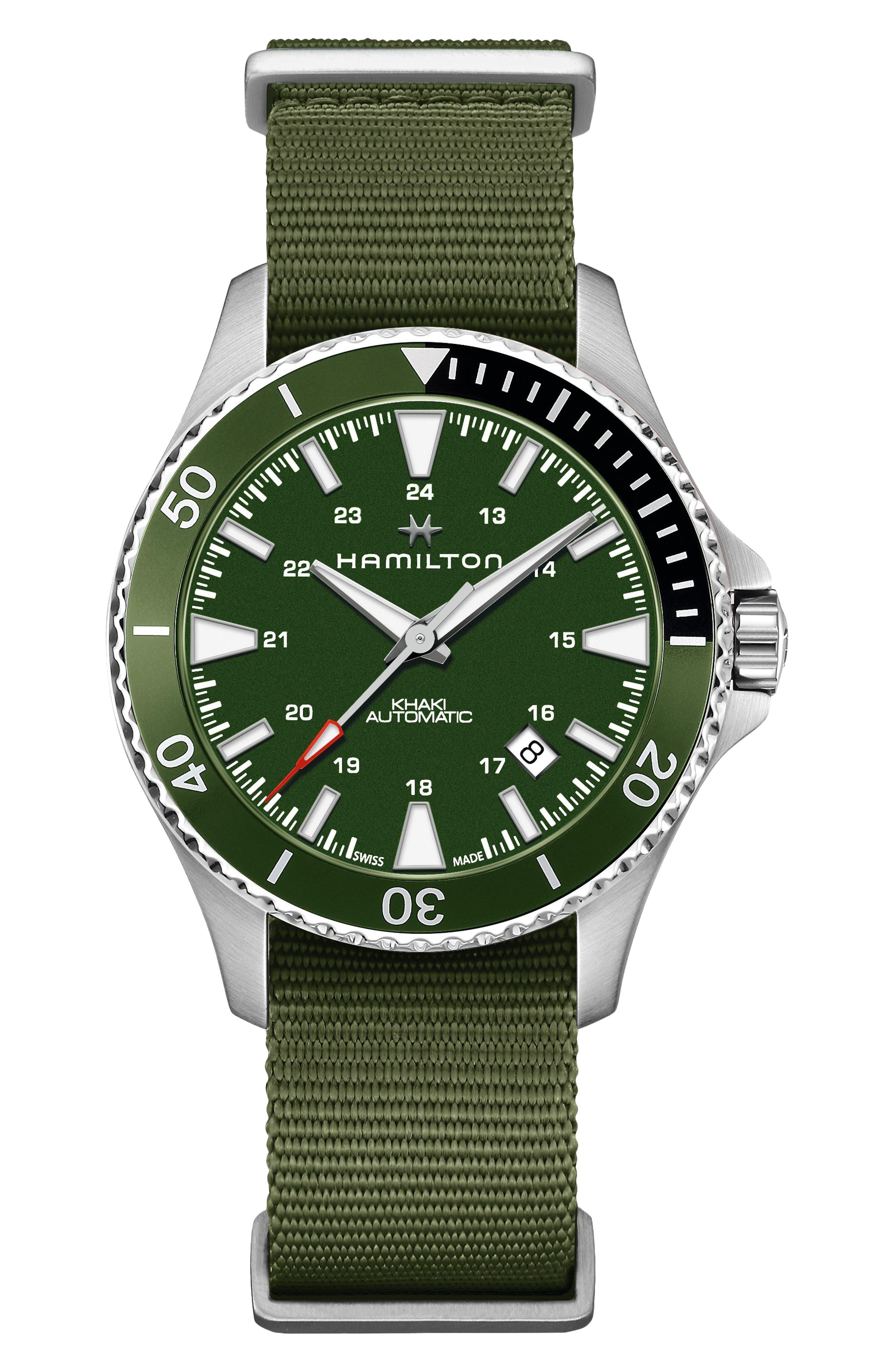 Khaki Navy Scuba Automatic Textile Strap Watch