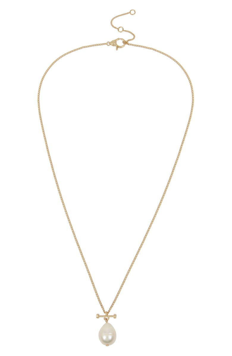 ALLSAINTS Imitation Pearl Bar Pendant Necklace, Main, color, GOLD