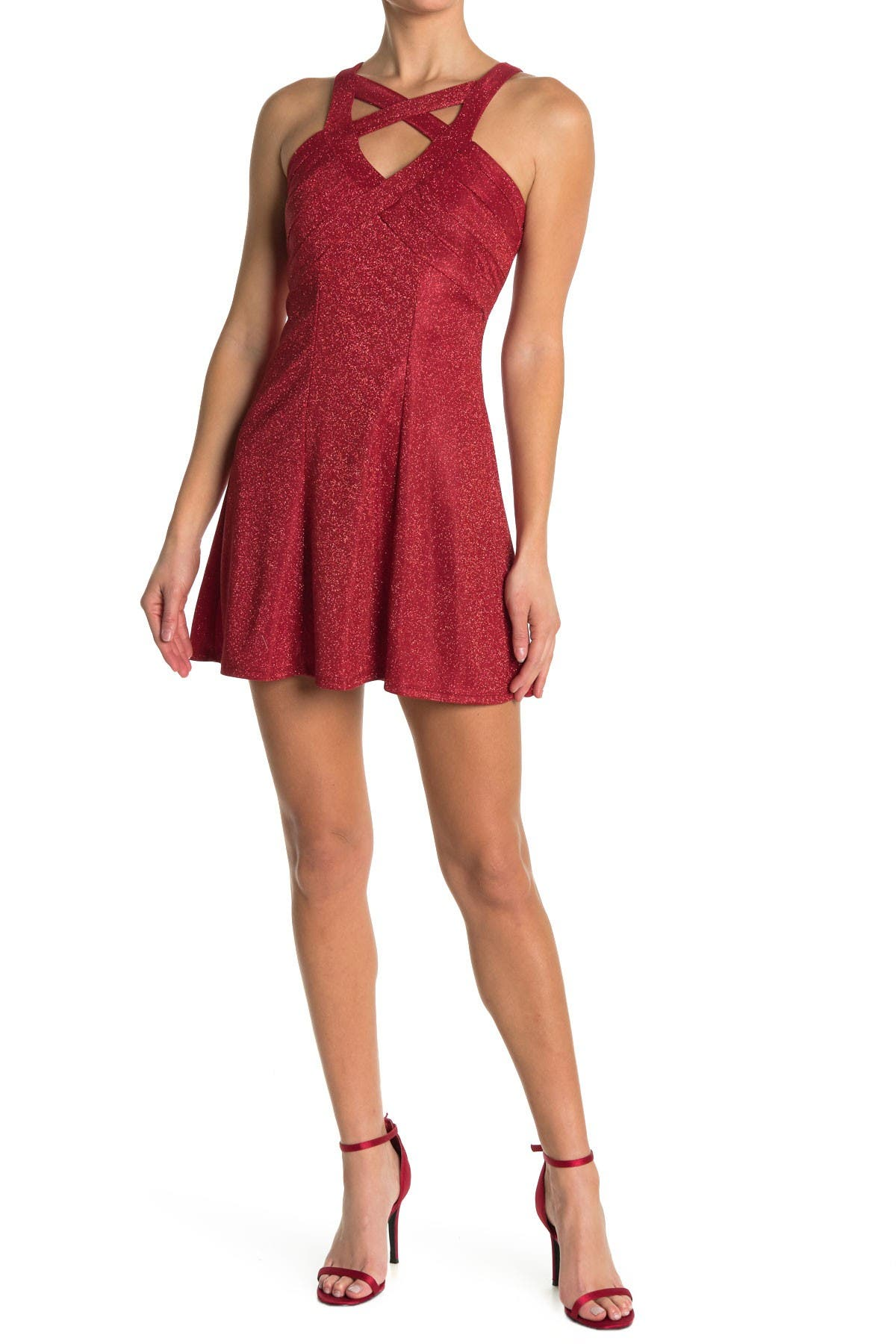 Image of Love, Nickie Lew Glitter Knit X Front Skater Dress