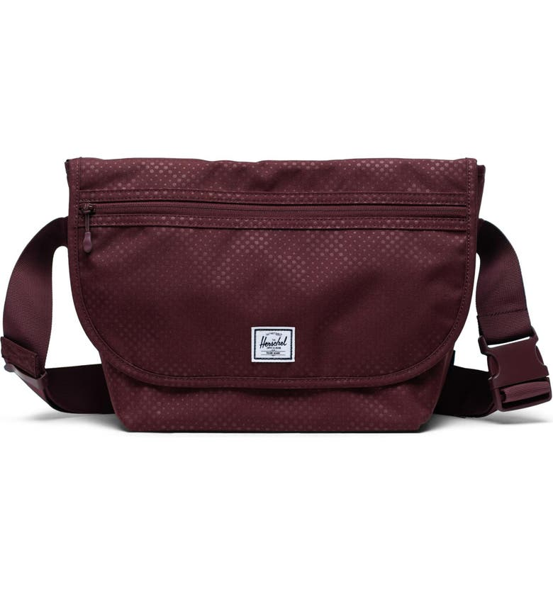 HERSCHEL SUPPLY CO. Grade Mid Volume Messenger Bag, Main, color, PLUM DOT CHECK