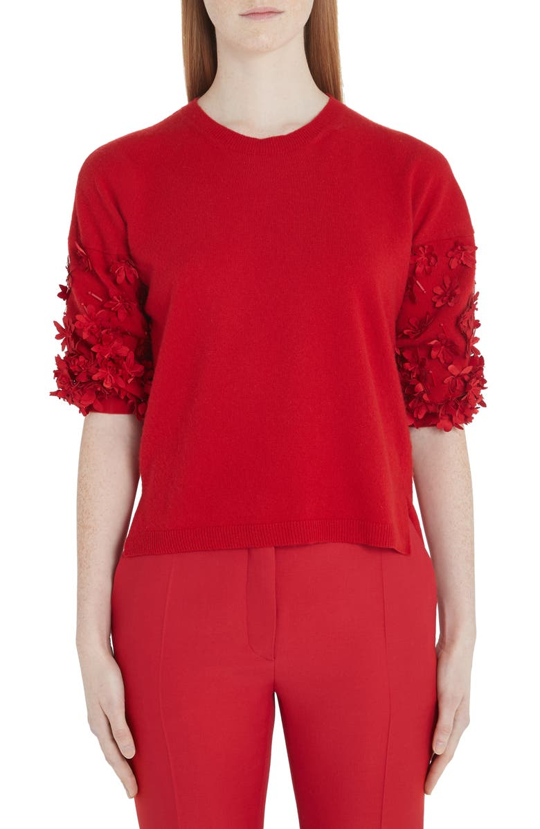VALENTINO Flower Embellished Wool & Cashmere Sweater, Main, color, 157-RED
