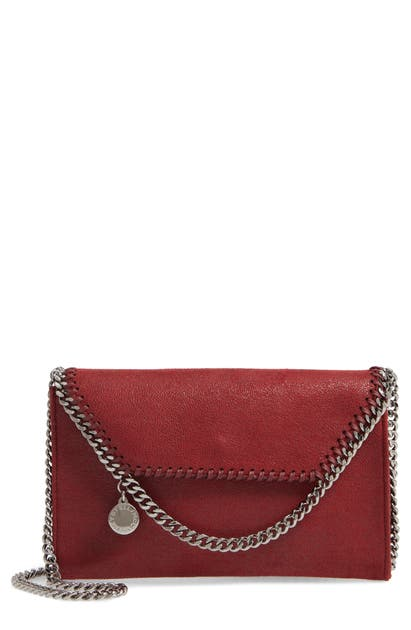 Stella Mccartney Mini Falabella Shaggy Dear Faux Leather Crossbody Bag - Red In Ruby