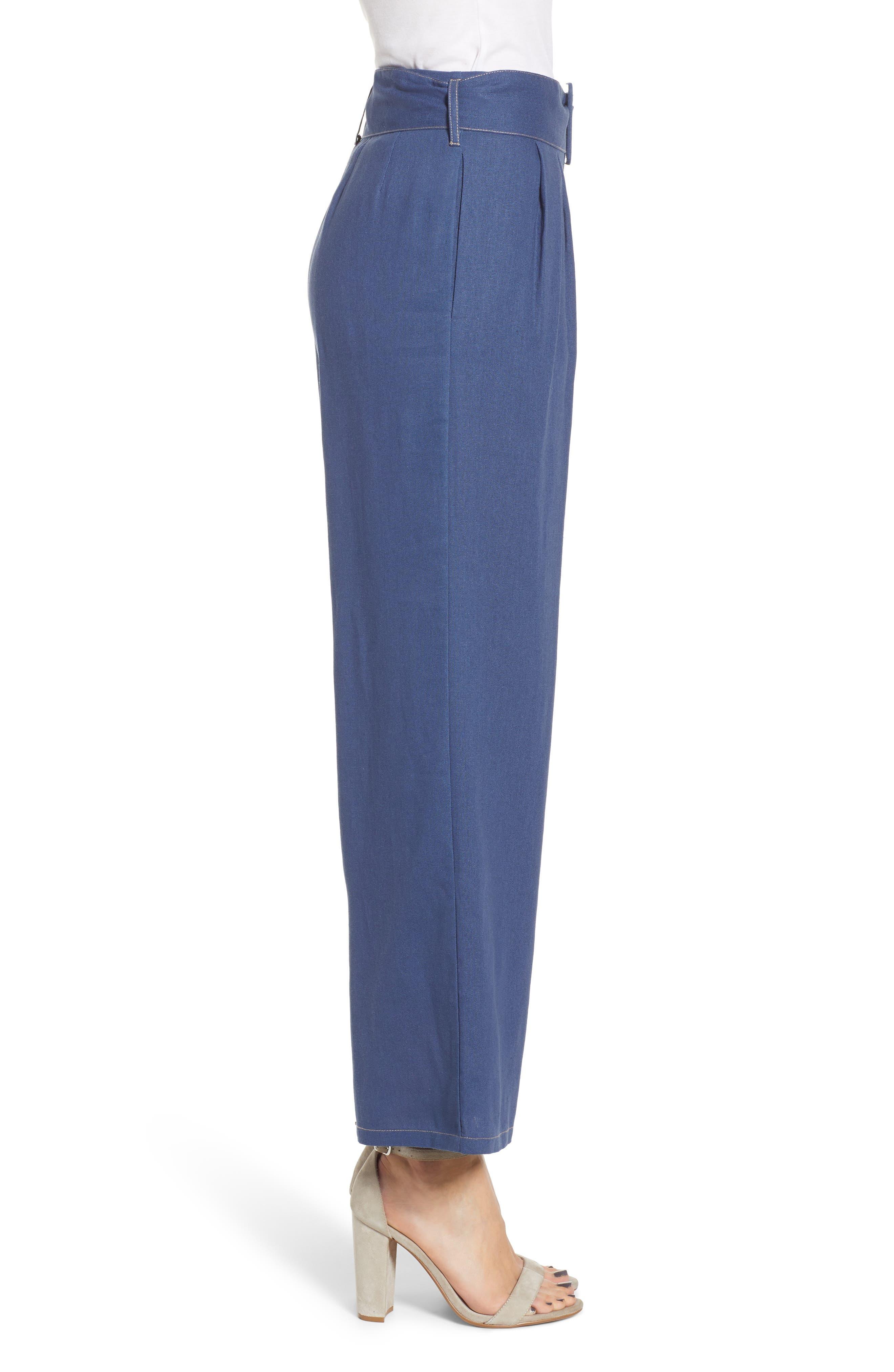 ,                             Belted Wide Leg Pants,                             Alternate thumbnail 4, color,                             400