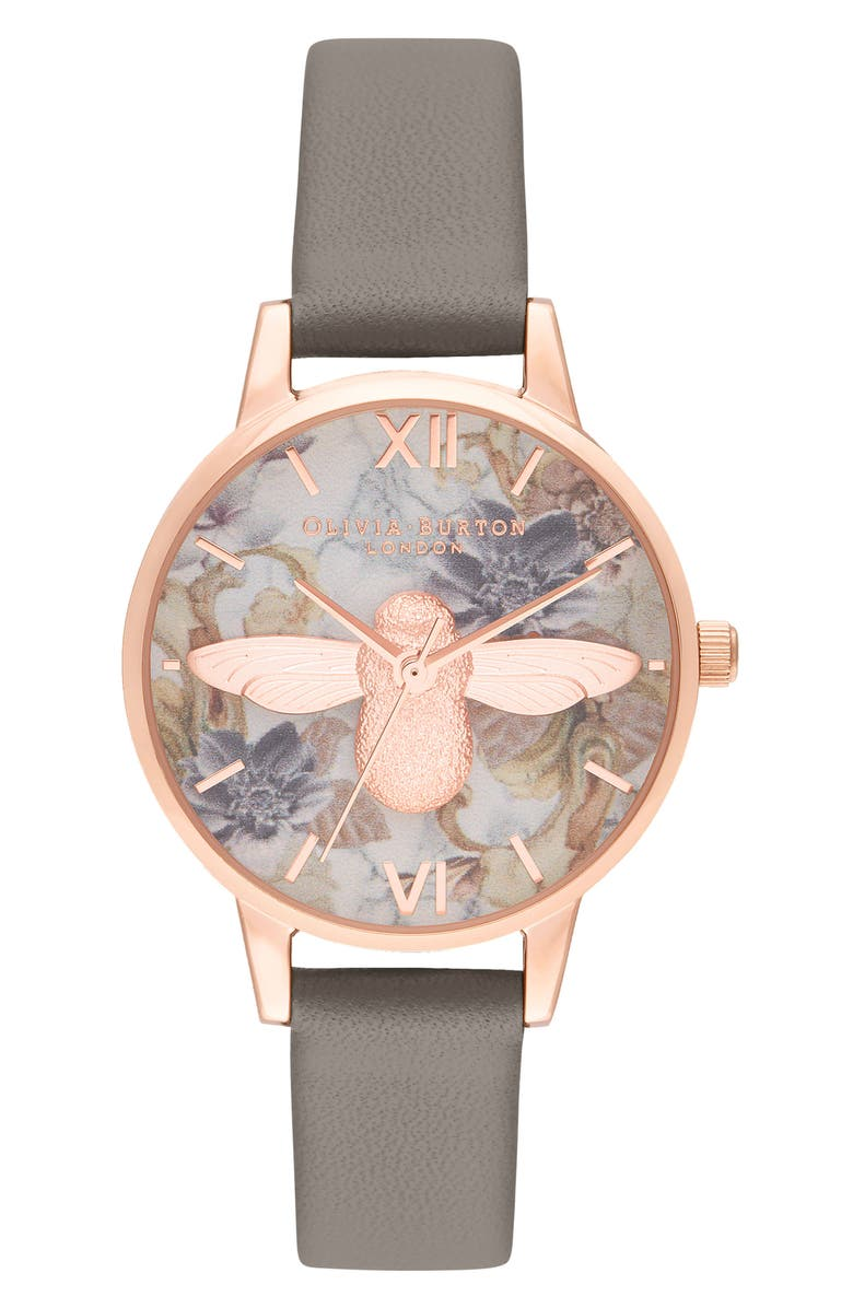 OLIVIA BURTON Marble Floral Faux Leather Strap Watch, 30mm, Main, color, LONDON GREY/ FLORAL/ ROSE GOLD