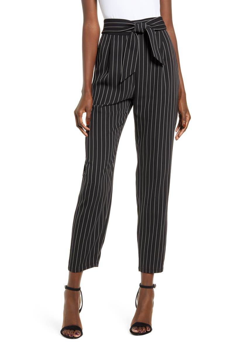 LEITH Tie Front Pants, Main, color, BLACK VERTICAL SAVVY STR