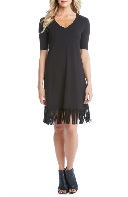 Karen Kane V-NECK FRINGE DRESS