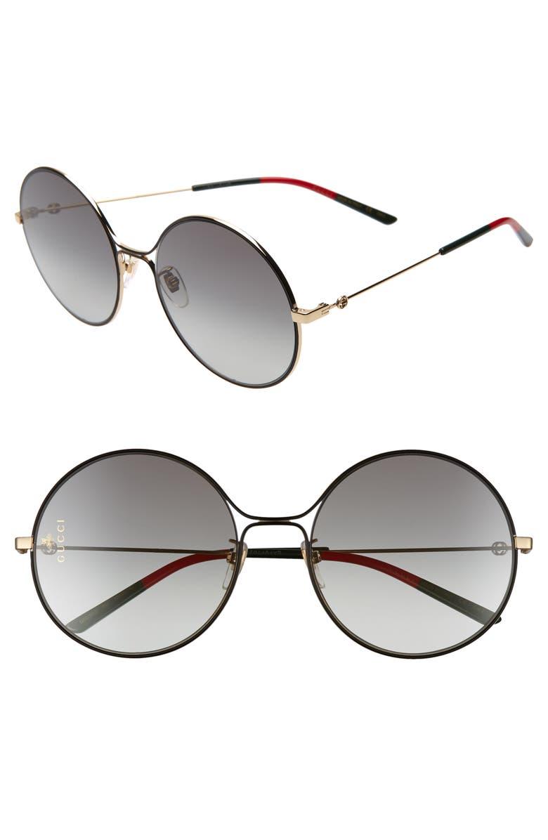 GUCCI 58mm Round Sunglasses, Main, color, 710