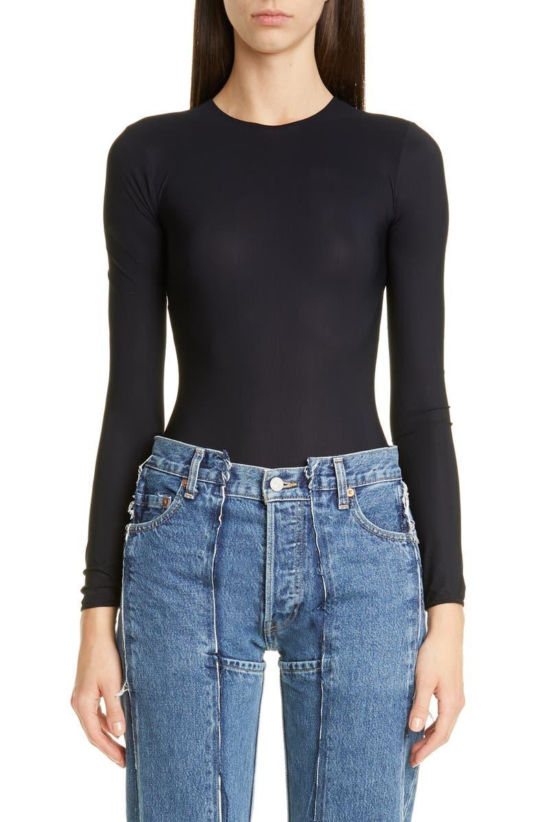 MAISON MARGIELA Tech Jersey Bodysuit, Main, color, BLACK