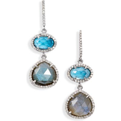 Sheryl Lowe Labradorite & Topaz Diamond Pave Drop Earrings