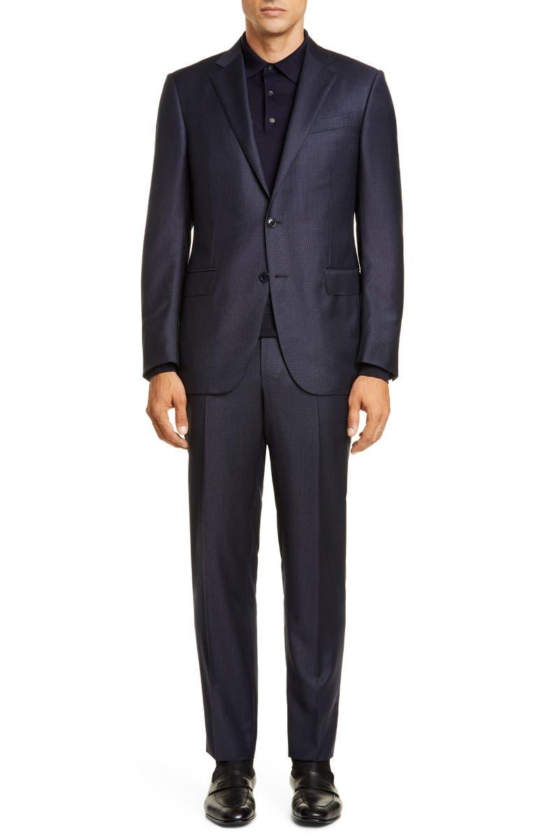 ERMENEGILDO ZEGNA Manhattan Achillfarm Classic Fit Plaid Wool & Silk Suit, Main, color, 416