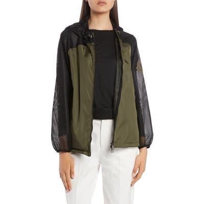 Moncler Persan Mesh Contrast Hooded Jacket, Green