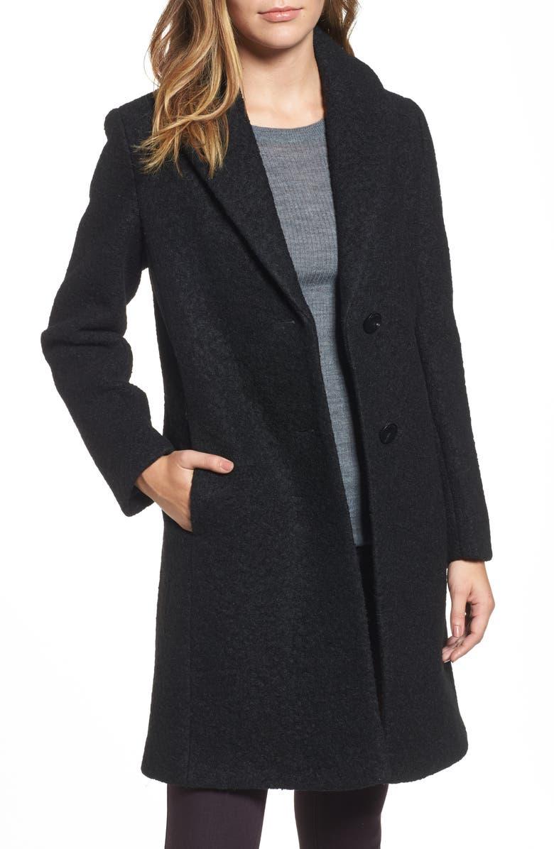 TAHARI 'Tessa' Boiled Wool Blend Coat, Main, color, 001
