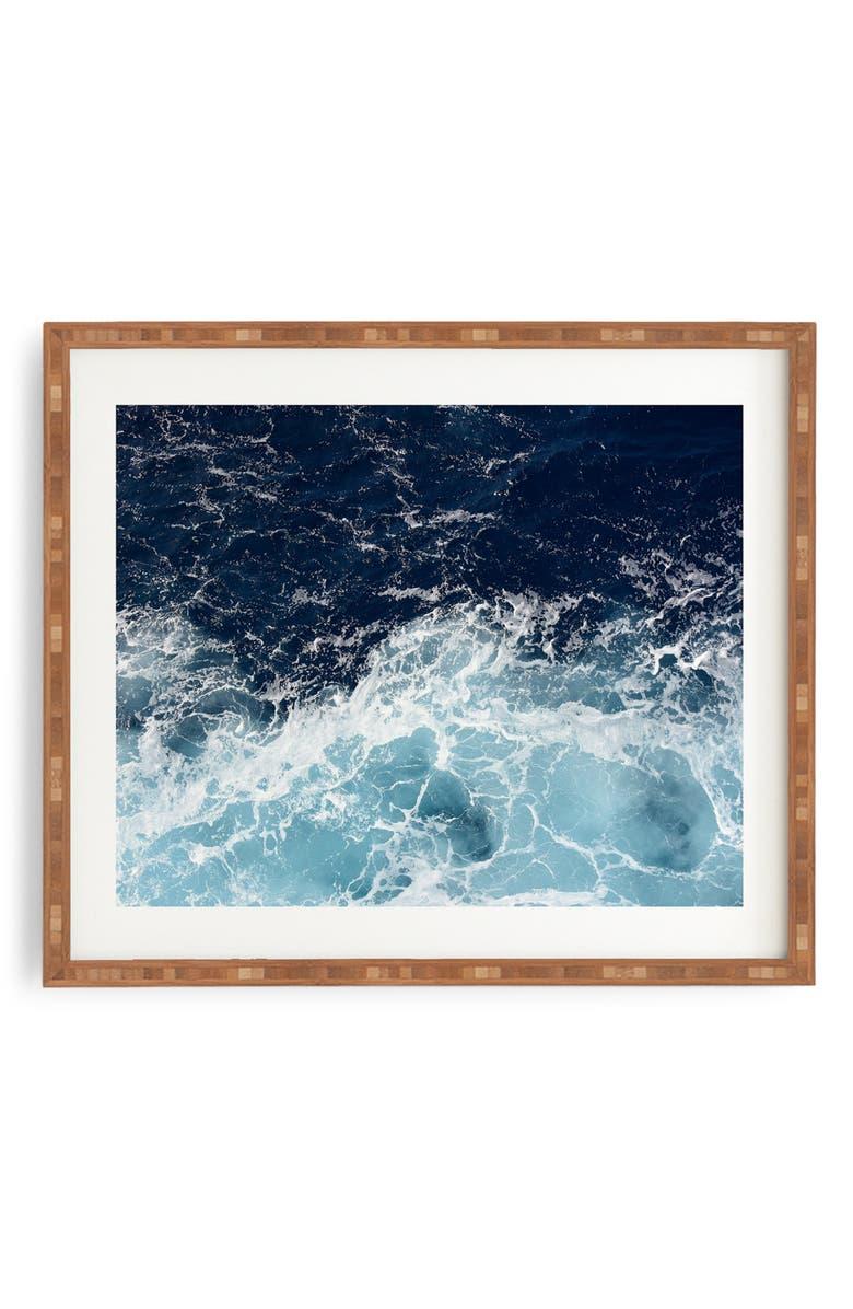 DENY DESIGNS Sea Swish Framed Wall Art, Main, color, BLUE