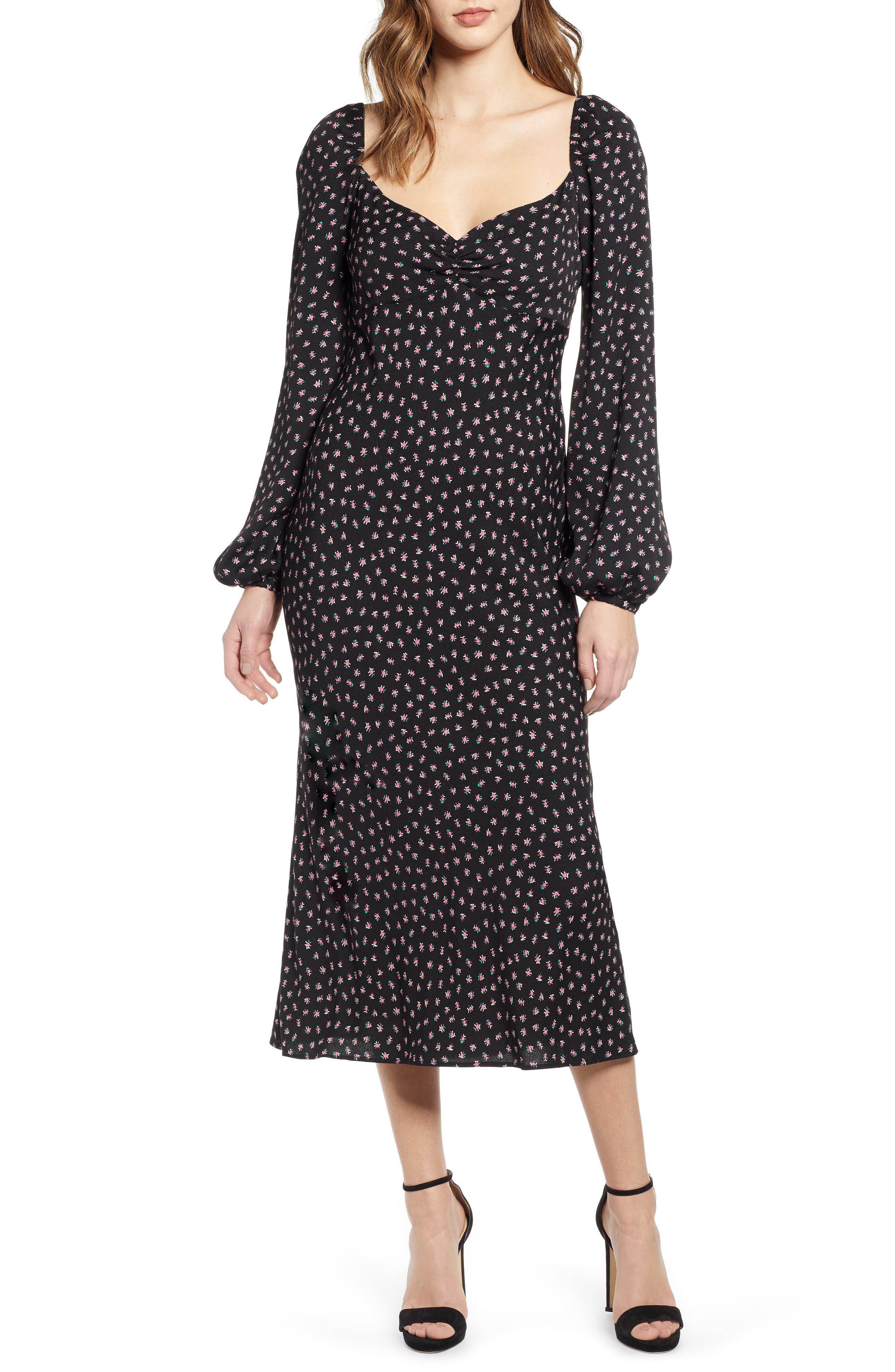 Afrm Trixie Balloon Sleeve Midi Dress, Black