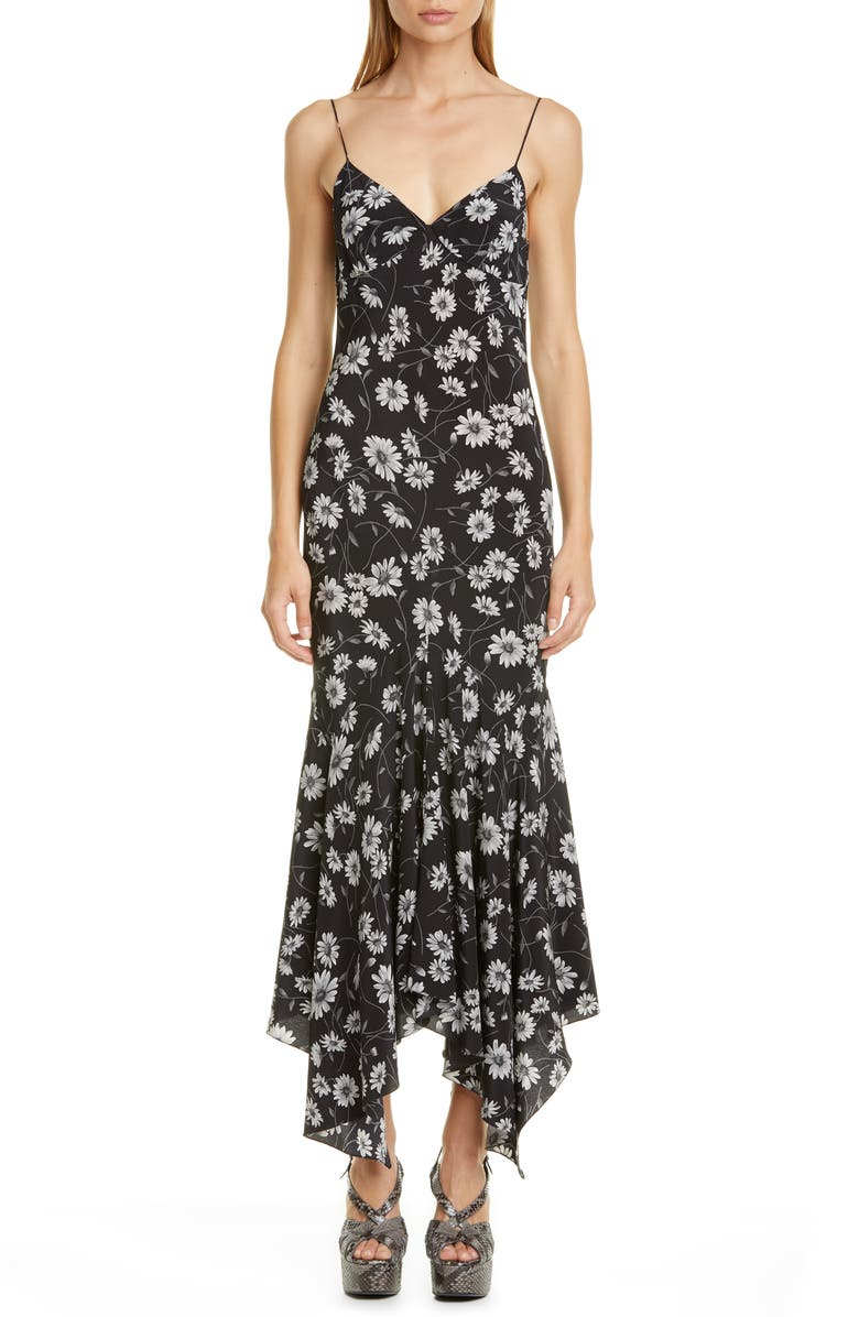 MICHAEL KORS Floral Print Silk Handkerchief Slipdress, Main, color, SLATE MULTI