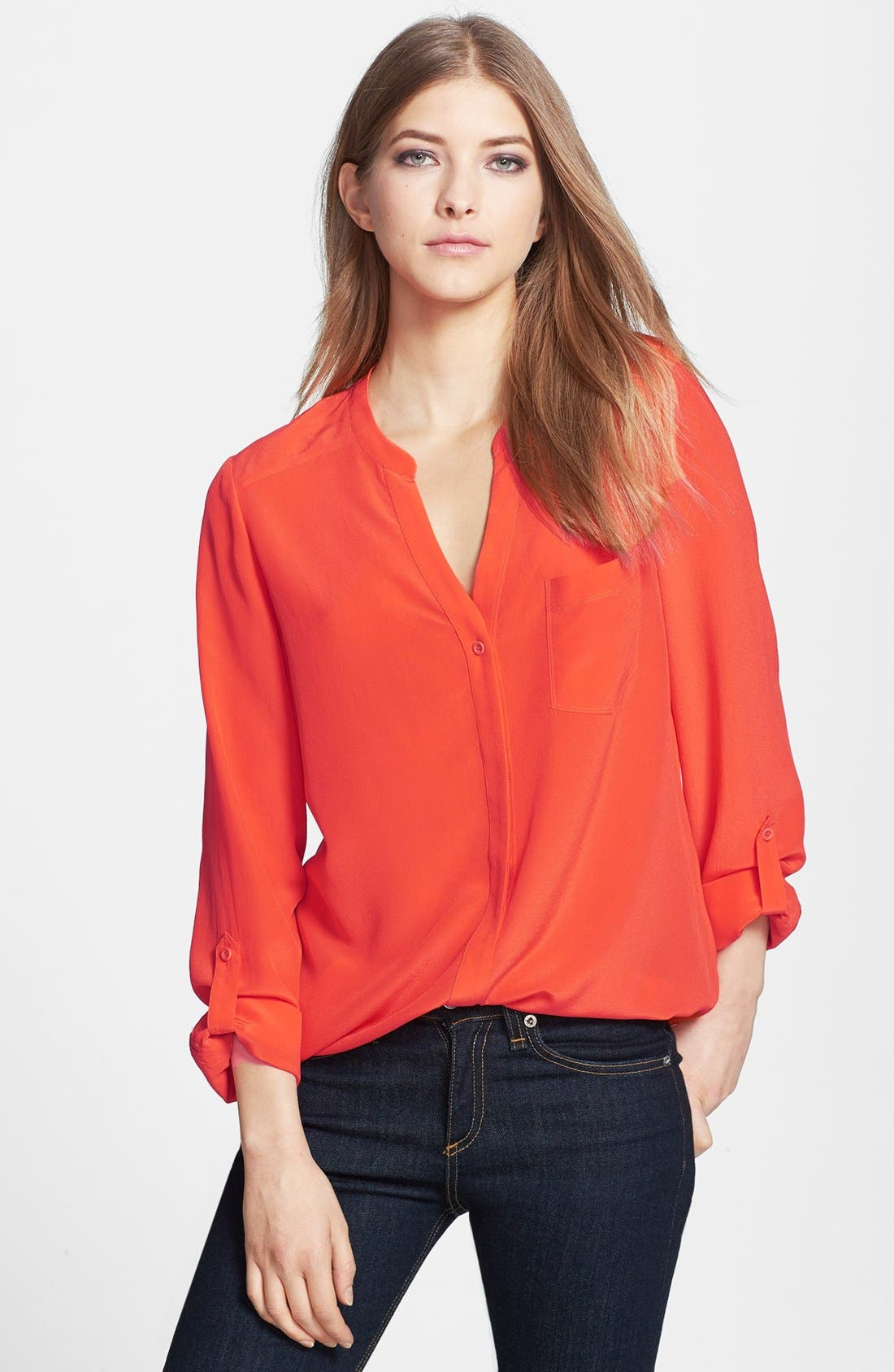 ,                             Collarless Silk Blouse,                             Main thumbnail 65, color,                             610