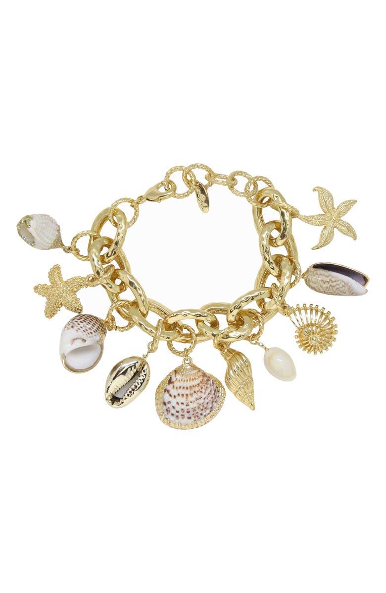 ETTIKA Shell Charm Bracelet, Main, color, GOLD