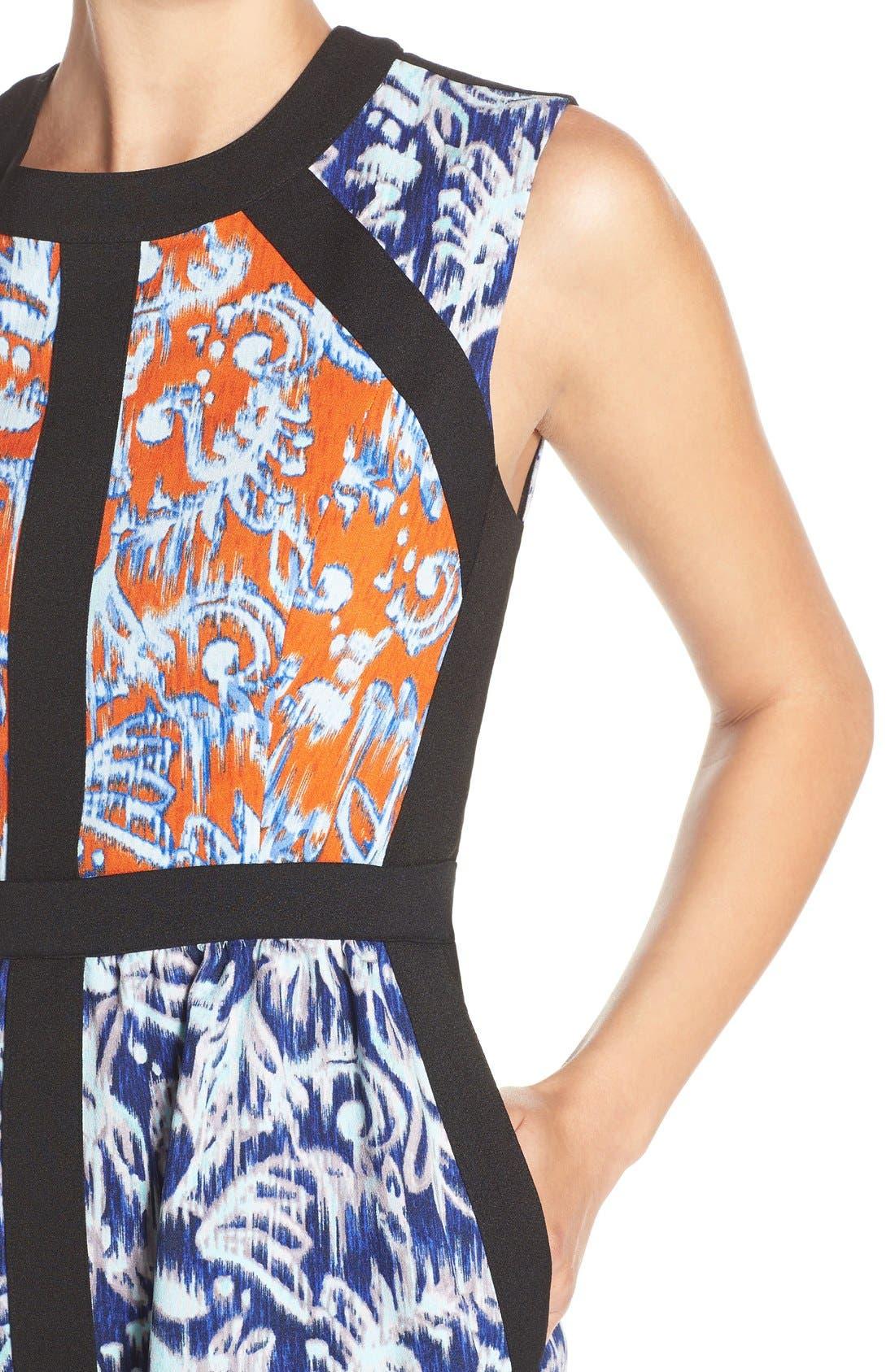 ,                             'Donatella' Banded Crepe Fit & Flare Dress,                             Alternate thumbnail 2, color,                             806