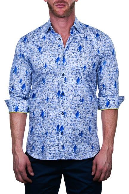 Image of Maceoo Fibonacci Roman Drip Print Shaped Fit Dress Shirt