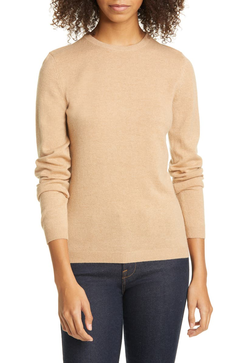 SUISTUDIO Merino Wool Crewneck Sweater, Main, color, CAMEL