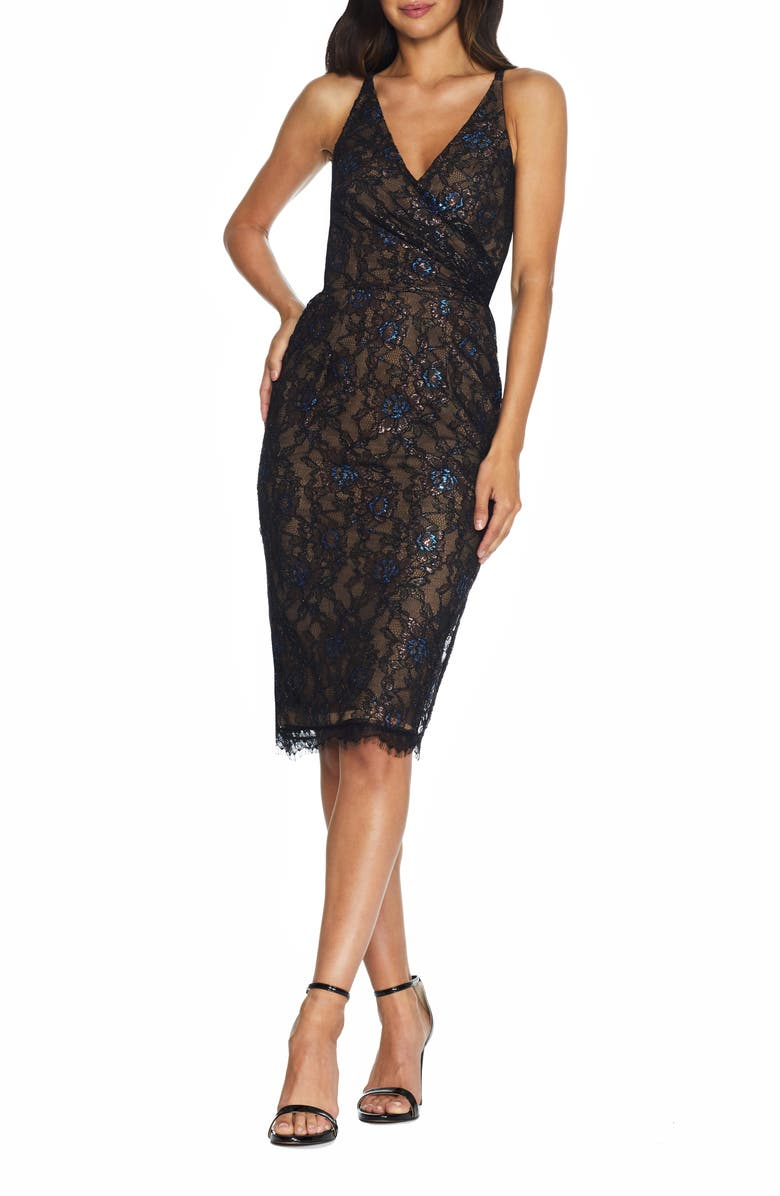 DRESS THE POPULATION Fiona Metallic Lace Cocktail Dress, Main, color, BLACK MULTI