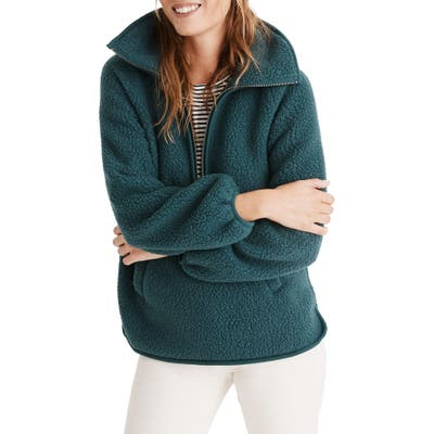 Madewell Recycled Polartec Fleece Pullover Jacket, Green