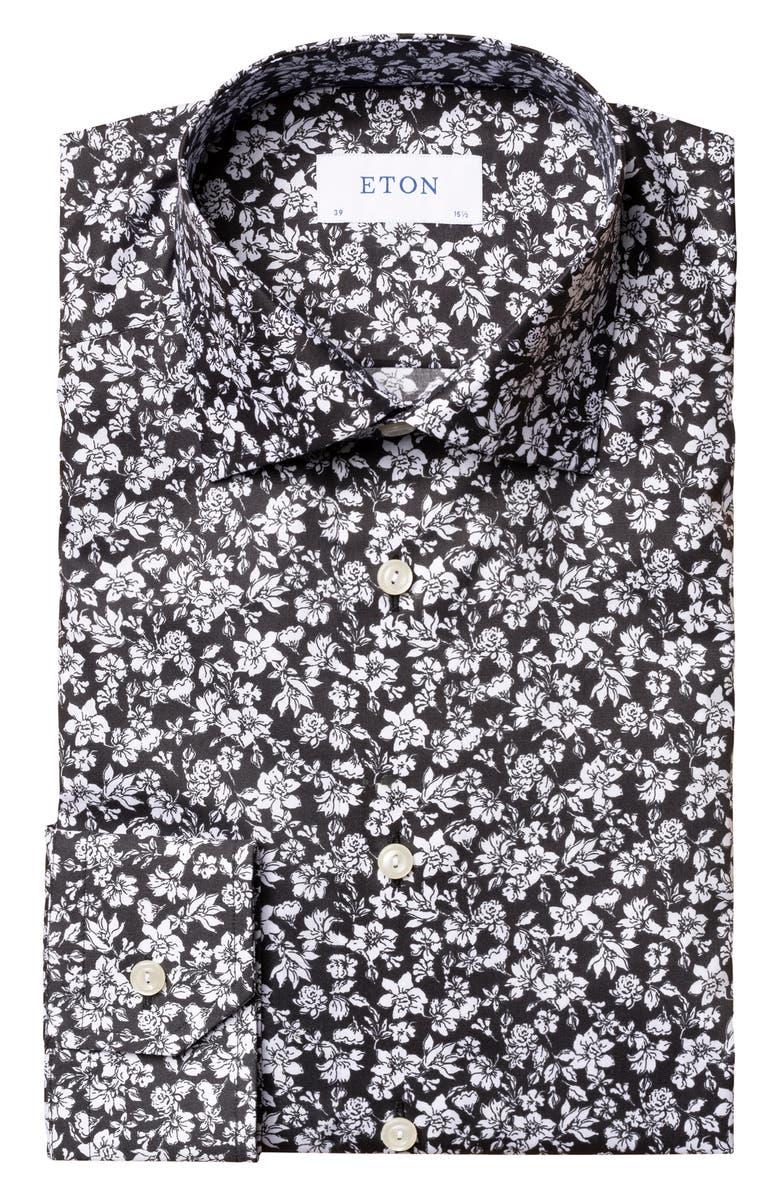 ETON Slim Fit Floral Dress Shirt, Main, color, BLACK