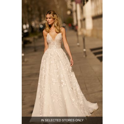 Berta Lace & Tulle Ballgown Wedding Dress, Size IN STORE ONLY - Ivory