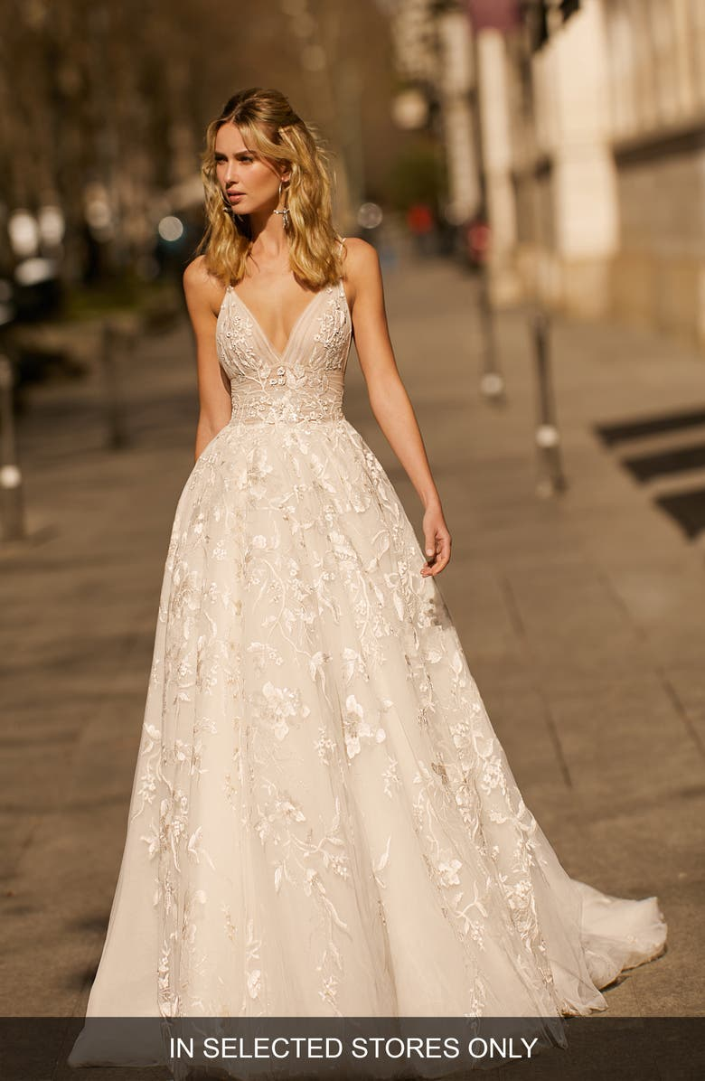 BERTA Lace & Tulle Ballgown Wedding Dress, Main, color, IVORY