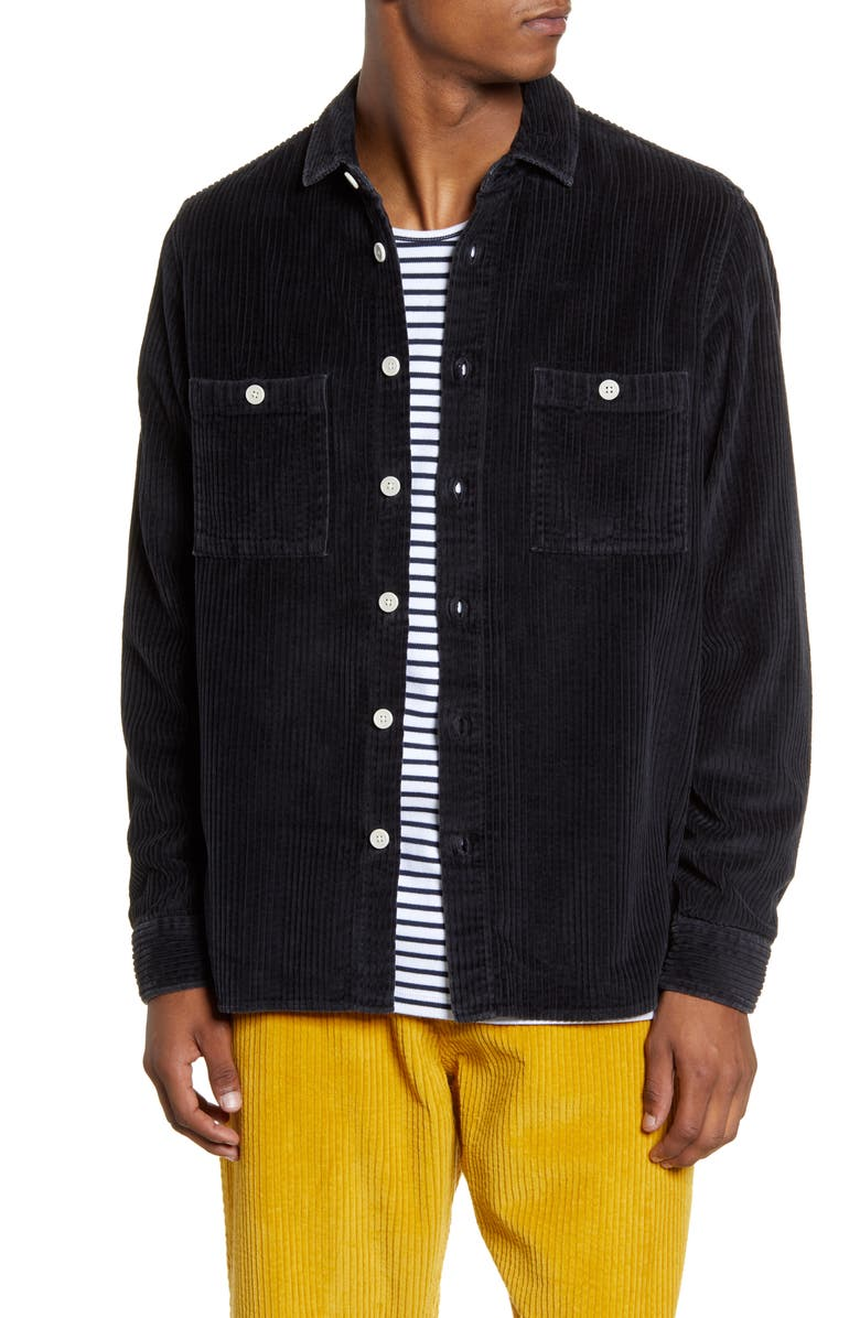 WAX LONDON Whiting Button-Up Corduroy Overshirt, Main, color, BLACK