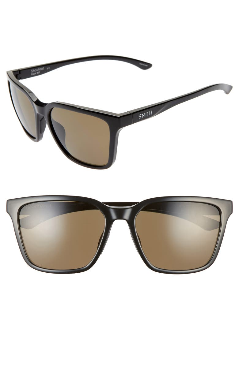 SMITH Shoutout 57mm ChromaPop<sup>™</sup> Polarized Square Sunglasses, Main, color, BLACK/ GRAY GREEN