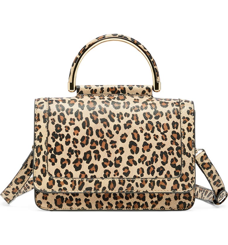 SOLE SOCIETY Small Evar Faux Leather Crossbody Bag, Main, color, NATURAL LEOPARD
