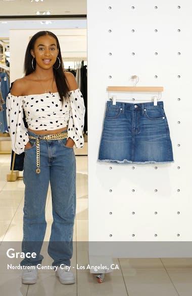 Frayed A-Line Denim Miniskirt, sales video thumbnail