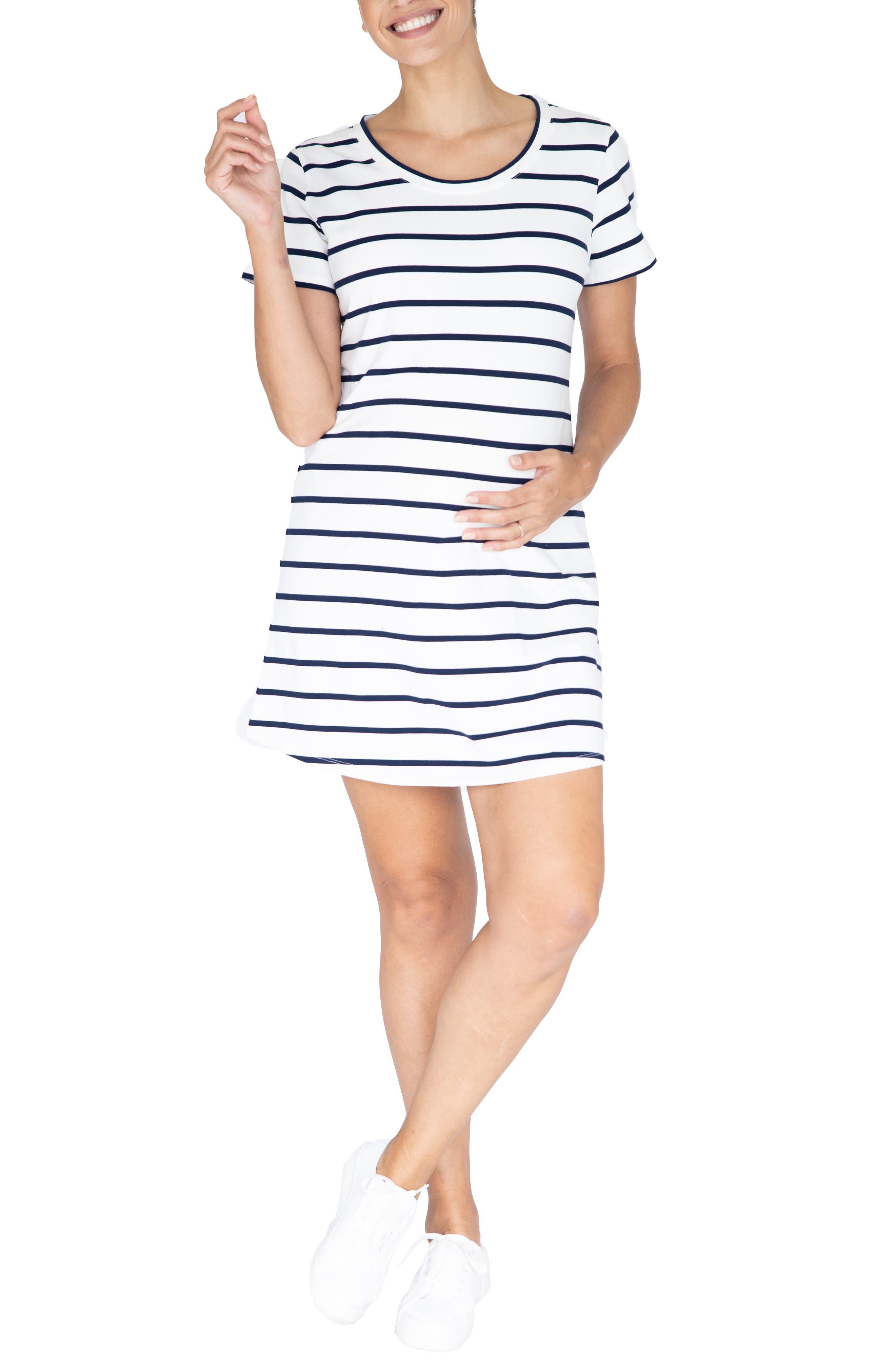 Summer Stripe Maternity T-Shirt Dress