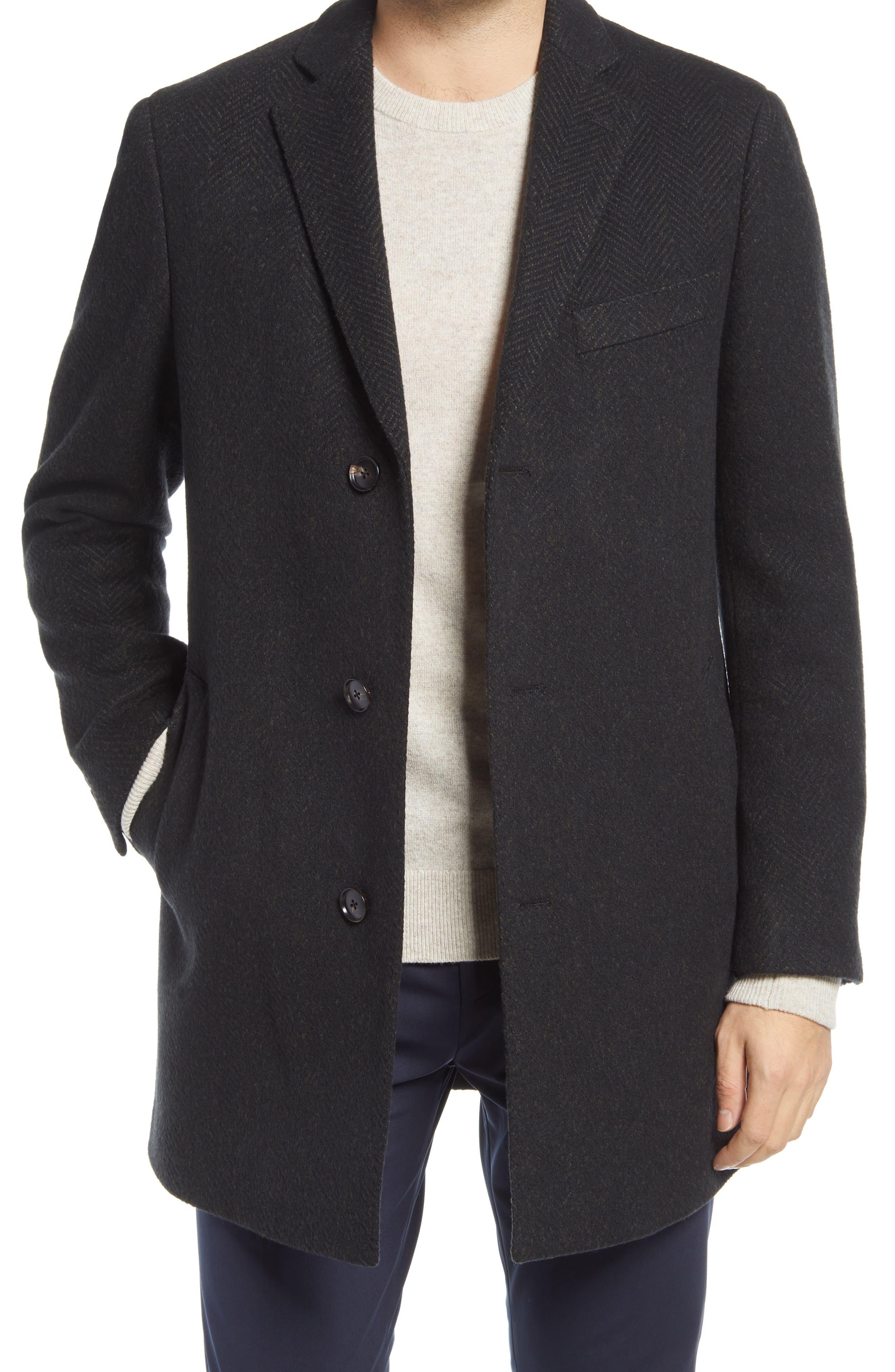 Stone Herringbone Wool Blend Overcoat