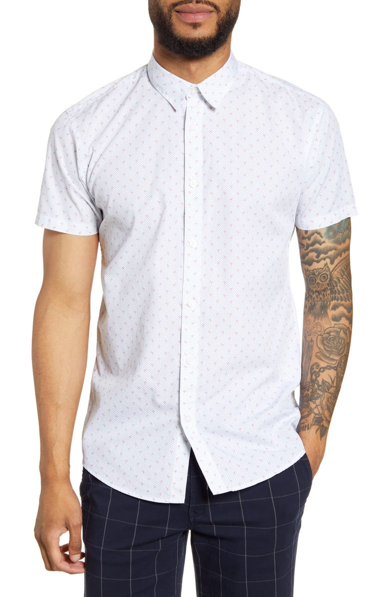 SELECTED HOMME Jack Short Sleeve Button-Up Shirt, Main, color, BRIGHT WHITE