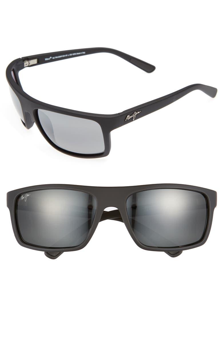 MAUI JIM Byron Bay 62mm Polarized Sunglasses, Main, color, MATTE BLACK/ NEUTRAL GREY