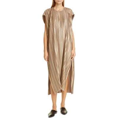 Zero + Maria Cornejo Rae Plisse Metallic Caftan Dress, Orange