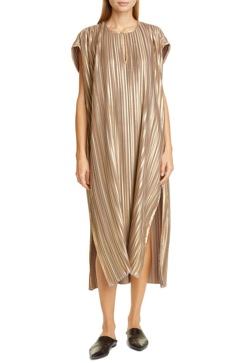 ZERO + MARIA CORNEJO Rae Plissé Metallic Caftan Dress, Main, color, 800