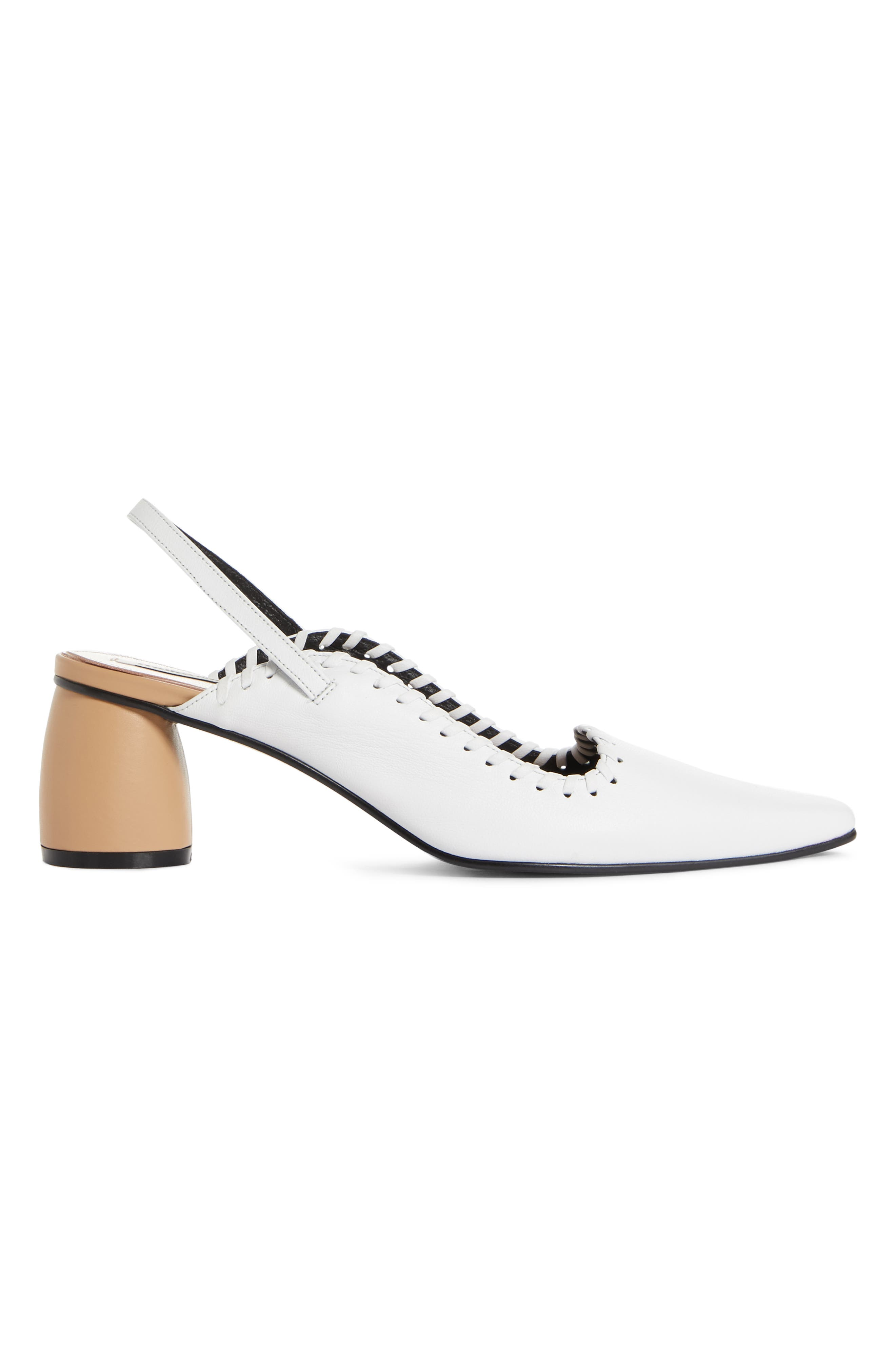 ,                             Curved Middle Slingback Pump,                             Alternate thumbnail 3, color,                             WHITE BEIGE
