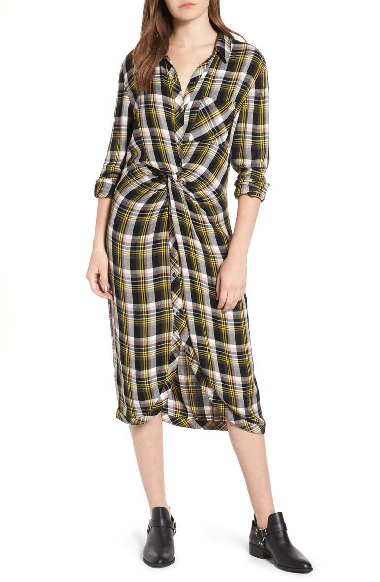 CASLON<SUP>®</SUP> Twist Front Plaid Shirtdress, Main, color, 001