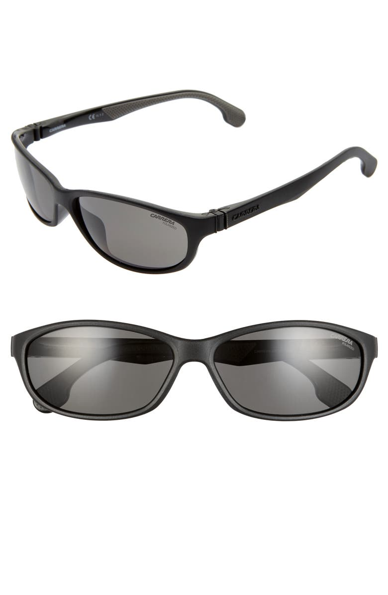 CARRERA EYEWEAR 61mm Polarized Wraparound Sunglasses, Main, color, MATTE BLACK/ GRAY
